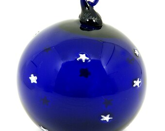 Hand Blown Glass Christmas Ornament Signed Cobalt Blue White Stars by Thames Glass Matthew Buechner Starry Night Art Glass Holiday Gift