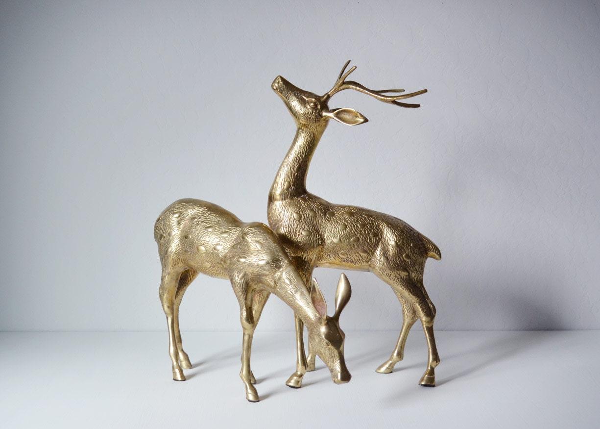 Vintage Brass Deer Christmas Home Decor Large Brass Deer