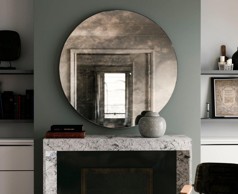 Antiqued Round Mirror Decorative Wall Mirror By