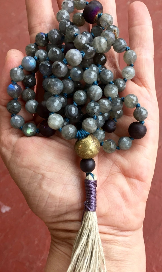 Labradorite Mala Beads  Purple Druzy  African Brass  108 Beads  Meditation Beads  Prayer Beads Yoga Jewelry,  Protects Aura