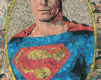Christopher Reeve Superman Comic Collage - giclee print