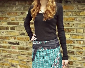 SUPER SALE-Free Size Reversible Wrap Cotton Knee Length Wrap Skirt Blue patterns Print with  Detachable Pocket