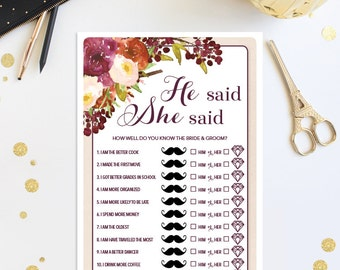 He Said She Said Game - Fall Burgundy Bridal Shower Game - Wedding Shower - Fall - Print at Home - Instant Download