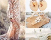 Coral & Crystal Starfish Sandals/White Enameled Brass Handmade Ankle Strap Natural or Gold Leather Bridal Sandals w/Rhinestones