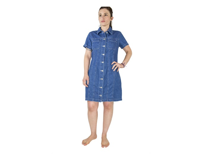 Vintage 90s Blue Denim Dress | Short Summer Button-down Dress | Size Medium | 1990s Jean Dress