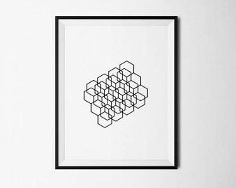 Geometric print, Hexagon print, Hexagon printable, Geometric poster, Geometry Print, Geometric art, Abstract print, Geometric Printable