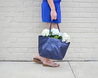 Custom soft leather Tote bag metallic sapphire / monogrammed / handbag / personalized / market tote bag