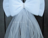 Tulle Bling Pew Bow | White or Ivory | Wedding Ceremony Decoration | Chair Sash | Church Aisle Decorations | Party Bridal | Baby Shower