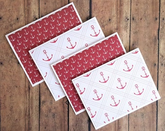 Blank Nautical Cards, Anchor Note Cards, Maritime Note Cards, Anchor Print, Nautical Greeting Cards, Just Because Cards, Set of 4
