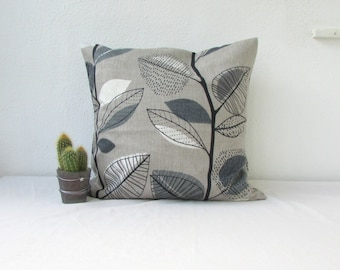 Grey leaf pillow cover, Monochrome cushion cover in Prestigious textiles fabric, 100% cotton, British designer fabric, handmade in the UK