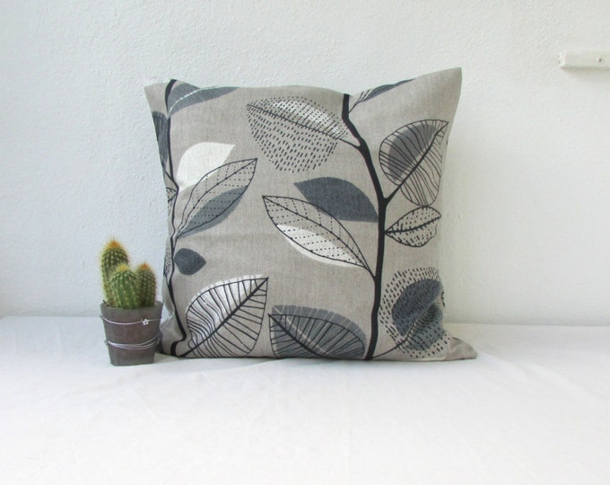 Grey leaf pillow cover, Monochrome cushion cover in Prestigious textiles fabric, handmade in the UK