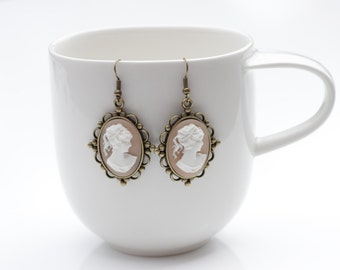 Victorian Lady Cameo Light Pink White Earrings