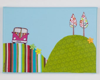 Whimsy CampoVan on a Hill Fabric Paining