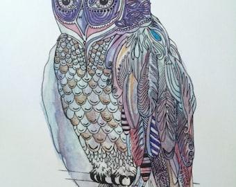 colorful mosaic owl print of original artwork