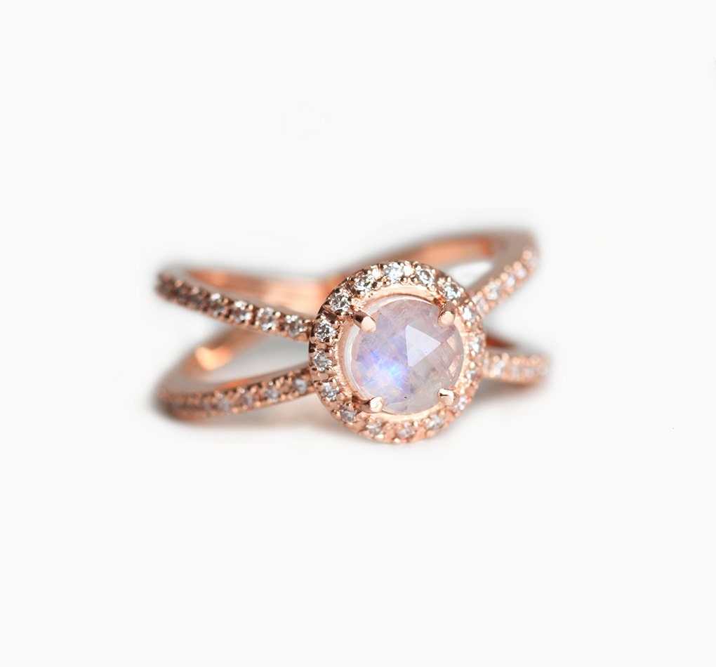 rose gold engagement ring moonstone diamond ring rose gold