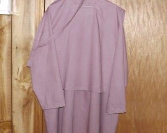 Spring Pink Cape Dress, Mennonite Church Dress, Size XL 24, Long Cotton Dress, Buttoned Yoke, Separate Cape & Belt, Modest, Christian