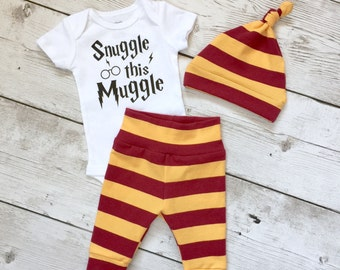 Snuggle this muggle, Baby harry potter, harry potter baby, Newborn boy going home outfit, Coming home outfit,Gryffindor, muggle baby,