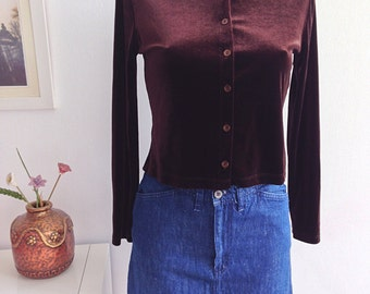 Vintage 90s Brown velvet top long sleeve with buttons, Grunge Style. Talla S.