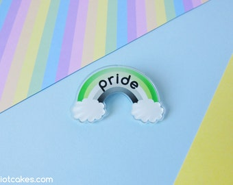 Aromantic Rainbow Pride Brooch