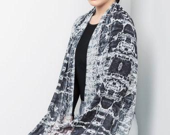 Designer scarf, Texture scarf, gift for women, Wearable art, Printed scarf, Black and white scarf, abstract scarf, ladies fashion,long shawl