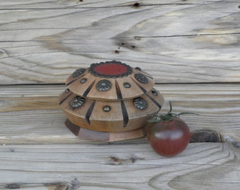 Vintage french Souvenir Wooden Box  Lidded Bowl 1950s