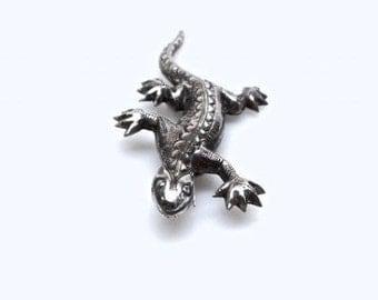 Sterling Silver Vintage or Antique Brooch Southwestern Style Iguana Lizard Pin