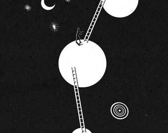 Illustration Print Illustration Art Prints Illustrations Surreal Moon Stars Space Mixed Media Giclee Print