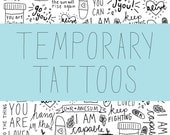 Affirmations Temporary Tattoo Pack- Mental Health, Recovery, Motivation