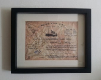 Framed replica ticket for the Titanic
