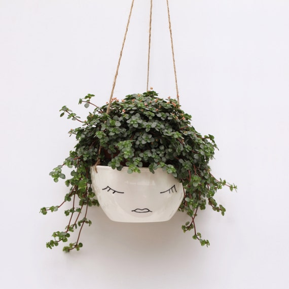 White Ceramic Hanging Planter Face Plant Pot Character
