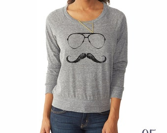 Mustache Shirt. Slouchy Pullover. Women's Clothing.