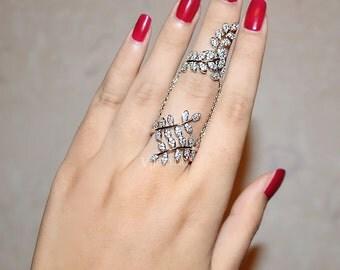Full Finger Ring - Branch Ring - Chain Ring - Double Ring - Cuff Ring - Slave Ring - Cubic Zirconia - Multi Finger Ring - Armor Ring -AR0266