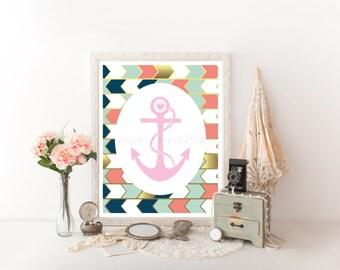 Pink Anchor, Anchor Decor, Nautical Decor, Anchor, Anchor Printable, Nautical Printable, Nautical Art, Anchor Download Print 0175