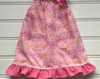 Floral Pillowcase Dress, Toddler Girl Dress, Girl Pink Dress, Girl Sundress, Girl Summer Dress, Toddler Dress, Ready to Ship 3T