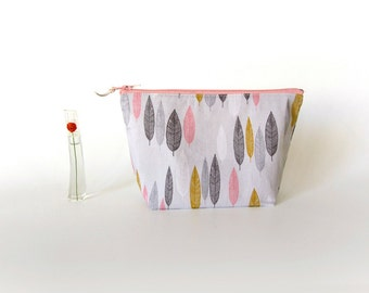 Makeup pouch, cosmetic pouch, medium zipper pouch, bridesmaid gift, organic cotton, pink make up pouch