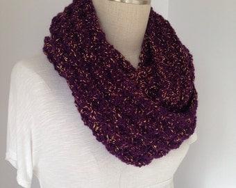 Crochet Scarf - Scarves - Handmade Wraparound Scarf - Purple Infinity Scarf -  Circle Neckwarmer - Cowl - Winter Fashion - Women's Accessory