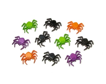 Flat Back Spider Embellishment Glue On Halloween Cabochon Creepy Lime Green Purple Orange Black Crawly Costume Decorations Table Top Scatter
