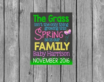 Spring Pregnancy Announcement Chalkboard Customized Printable File