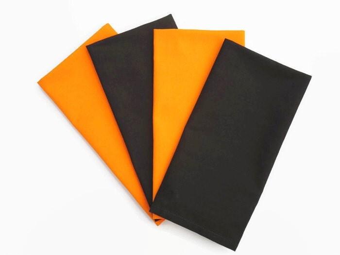 Black orange cloth napkins set of 4 halloween cloth for Halloween cloth napkins