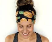 Yoga Headband - Workout Headband - Fitness Headband - Running Headband - Golden Pineapple Print - Boho Wide Headband