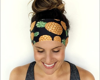 Yoga Headband - Workout Headband - Fitness Headband - Running Headband - Golden Pineapple Print - Boho Wide Headband
