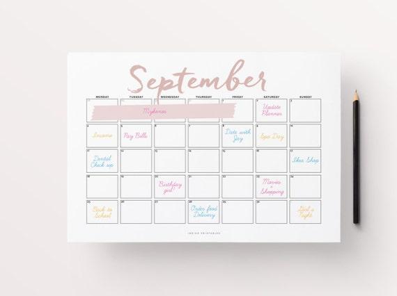2017 Wall Calendar Printable Calendar 2017 Calendar 2017