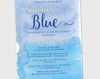 Something Blue Bridal Shower Invitation {Digital File} Something Borrowed