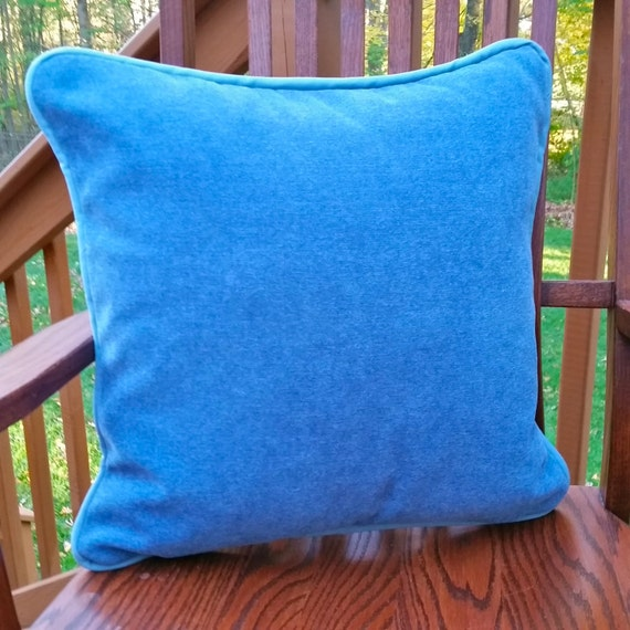 Slate Blue Velvet Fabric Throw Pillow Cover with Cotton Duck