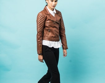Brown quilted biker lambskin leather jacket