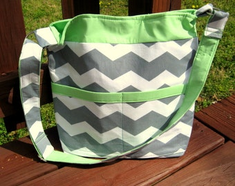 CHEVRON TOTE, CHEVRON Handbag / Purse, Chevron Pocketbook, Mint Green Accent, Other Colors Available, Made To Order