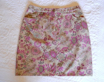 Paisley Inspired Vintage Jean Style Skirt / Size 8