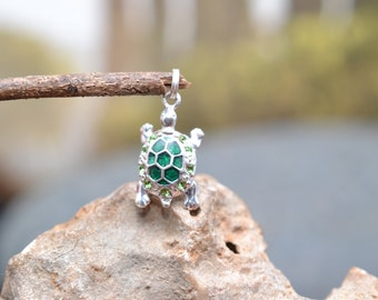 Small Sterling Silver and Enamel Turtle Pendant Charm with Green Stones