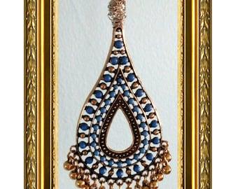 Ceiling Fan Pull Chain / Home Decor - Dark Blue & Gold Beaded - Gold Chain