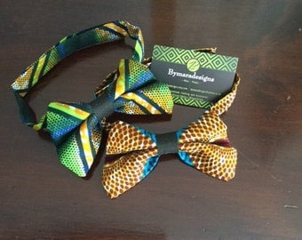 Tradition and style in these TWO Hand-made Bow Ties . African fabric,African Print.
